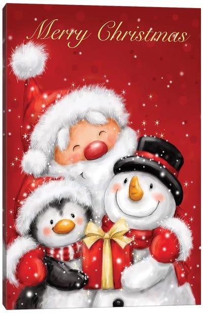 Santa Penguin And Snoman Canvas Art Print