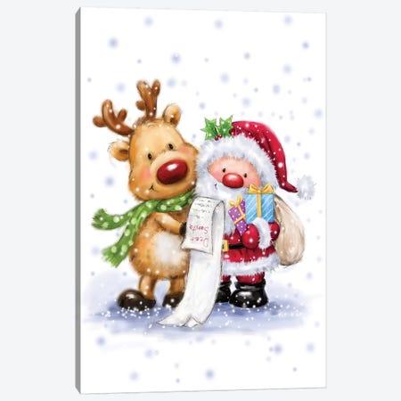Santa Reading List Canvas Print #MKK230} by MAKIKO Canvas Artwork