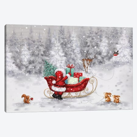Santa s Sleigh Canvas Print #MKK231} by MAKIKO Canvas Artwork