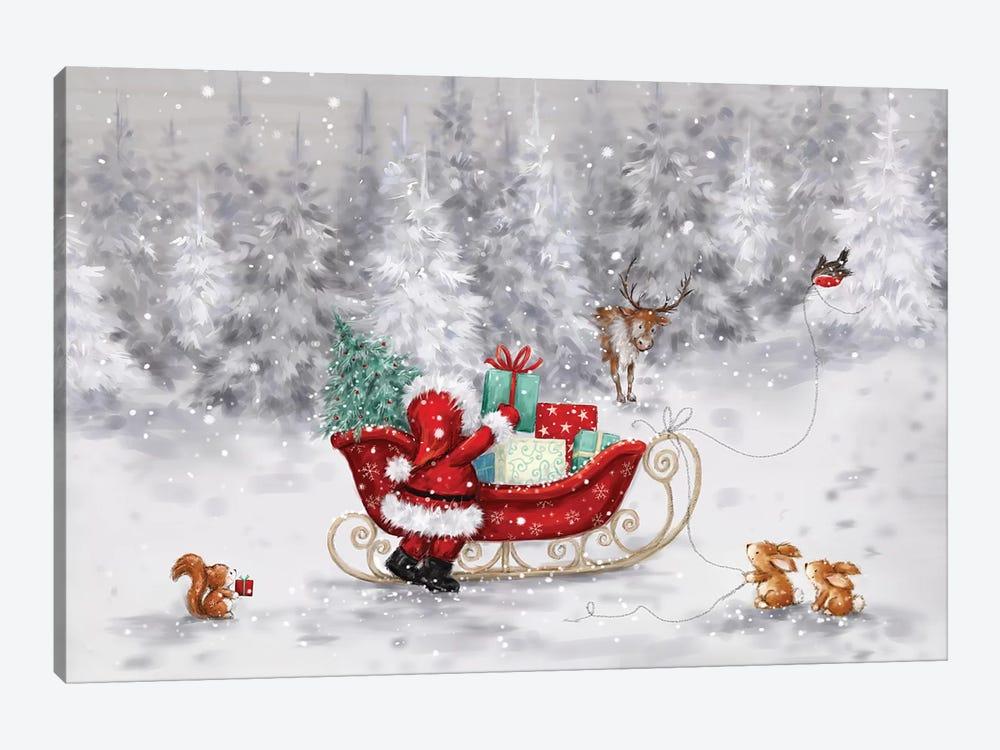 Santa s Sleigh by MAKIKO 1-piece Canvas Art