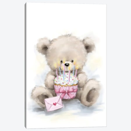 Bear with Cake Canvas Print #MKK23} by MAKIKO Canvas Art