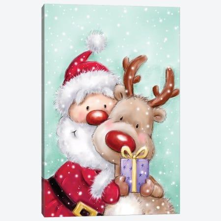 Santa With Reindeer Canvas Print #MKK241} by MAKIKO Art Print