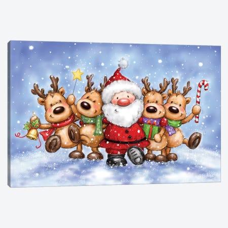Santa With Reindeers Canvas Print #MKK242} by MAKIKO Canvas Art Print