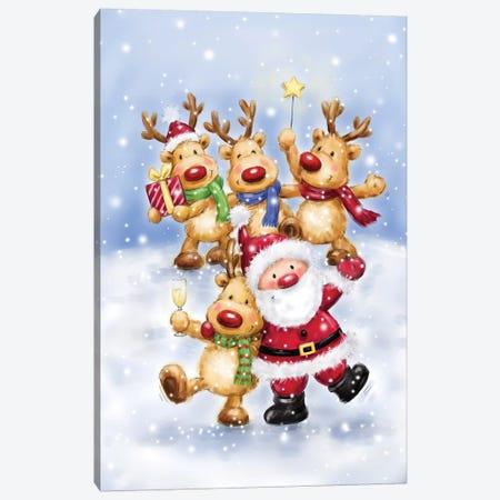 Santa with Reindeers I Canvas Print #MKK243} by MAKIKO Canvas Print