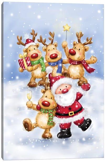 Santa with Reindeers I Canvas Art Print