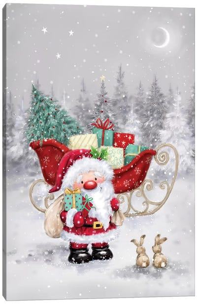 Santa with Sleigh I Canvas Art Print