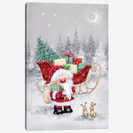 Santa with Sleigh I Canvas Print #MKK246} by MAKIKO Canvas Artwork