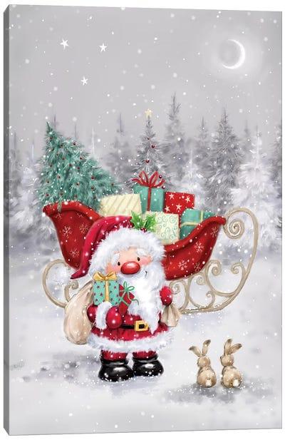 Santa with Sleigh I Canvas Art Print