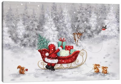 Santa With Sleigh II Canvas Art Print