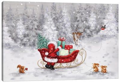 Santa With Sleigh II Canvas Art Print