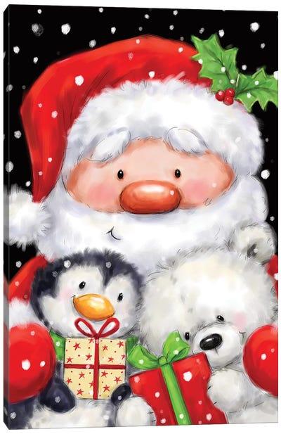 Santa, Penguin And Polar Bear I Canvas Art Print