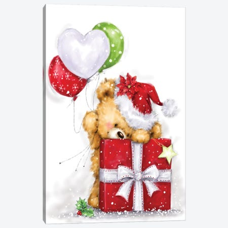 Bear with Christmas Present Canvas Print #MKK24} by MAKIKO Art Print