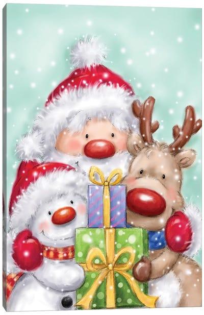 Santa, Reindeer And Snowman Canvas Art Print