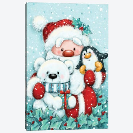 Santa, Robin and Polar Bear Canvas Print #MKK252} by MAKIKO Canvas Art