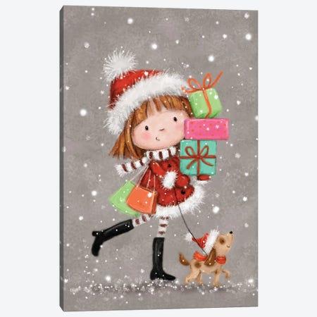 Shopping Christmas Girl I Canvas Print #MKK253} by MAKIKO Canvas Art
