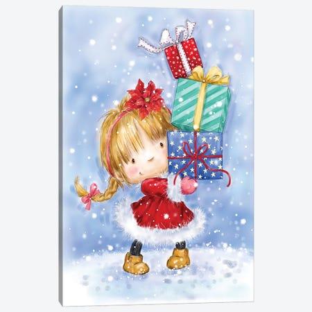 Shopping Christmas Girl III Canvas Print #MKK255} by MAKIKO Canvas Print