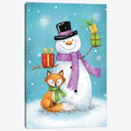 Snowman And Fox I Canvas Print #MKK263} by MAKIKO Art Print