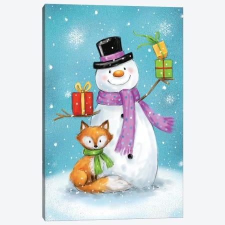 Snowman And Fox I Canvas Print #MKK263} by MAKIKO Art Print