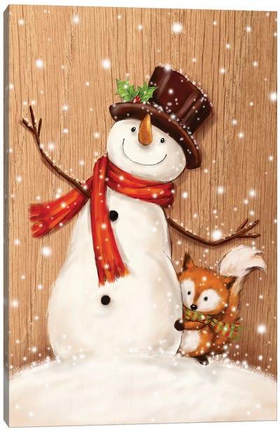Snowman And Fox II Canvas Art Print