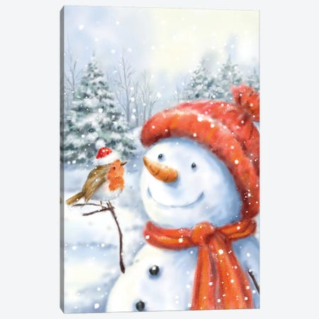 Snowman And Robin I Canvas Print #MKK266} by MAKIKO Canvas Wall Art