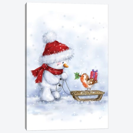 Snowman and Robin IV Canvas Print #MKK268} by MAKIKO Art Print