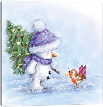 Snowman and Robin VII Canvas Art Print