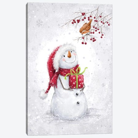 Snowman and Robin VI A Canvas Print #MKK271} by MAKIKO Canvas Art