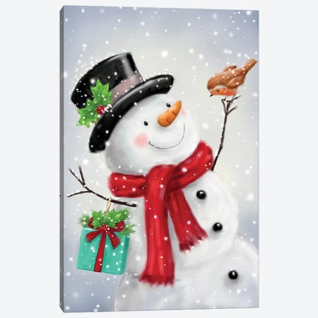 Snowman and Robin VI B Canvas Print #MKK272} by MAKIKO Canvas Wall Art