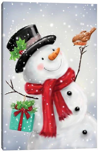 Snowman and Robin VI B Canvas Art Print