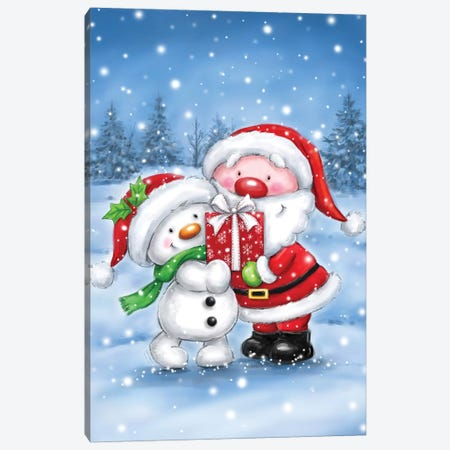Snowman And Santa Canvas Print #MKK273} by MAKIKO Canvas Artwork