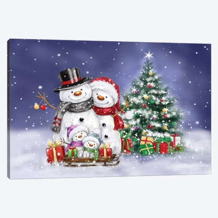 Snowman Family and Tree Canvas Print #MKK278} by MAKIKO Canvas Art