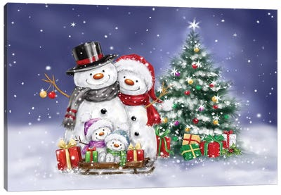 Snowman Family and Tree Canvas Art Print