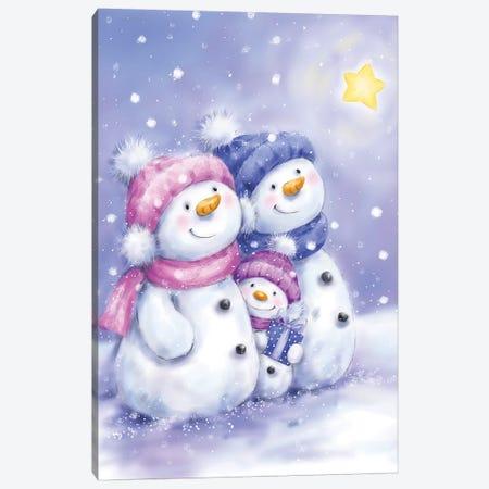 Snowman Family I Canvas Print #MKK279} by MAKIKO Canvas Art