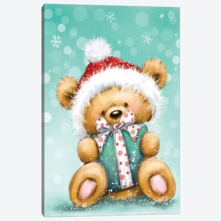 Bear With Green Presnt Canvas Print #MKK27} by MAKIKO Art Print