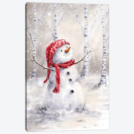 Snowman in Wood I Canvas Print #MKK282} by MAKIKO Canvas Art Print
