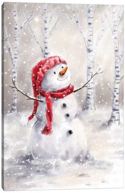 Snowman in Wood I Canvas Art Print