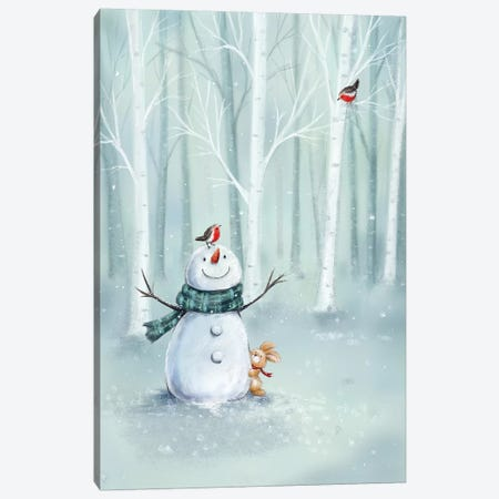 Snowman in Wood II Canvas Print #MKK283} by MAKIKO Art Print