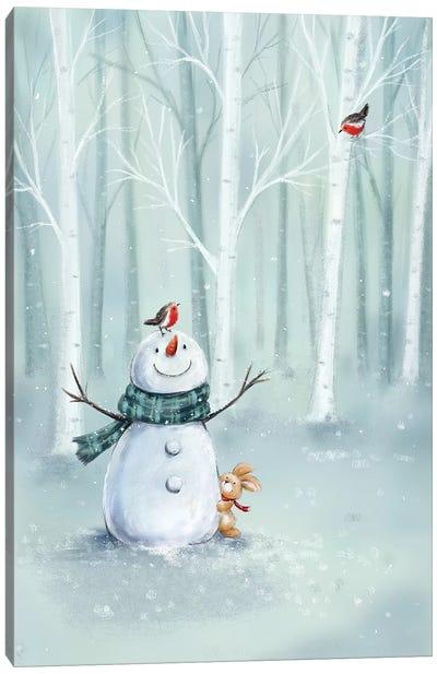Snowman in Wood II Canvas Art Print