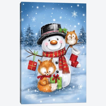 Snowman Owl And Fox Canvas Print #MKK284} by MAKIKO Canvas Art
