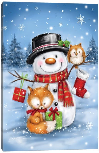 Snowman Owl And Fox Canvas Art Print