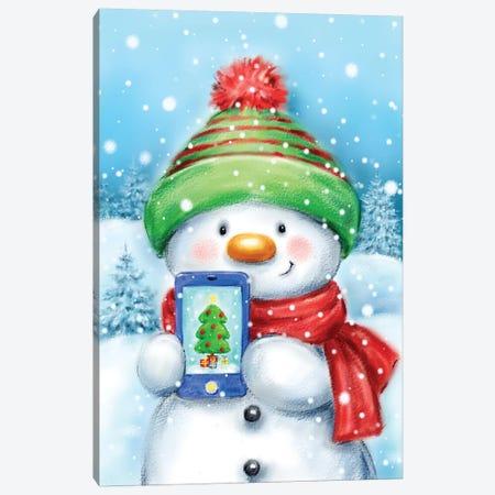 Snowman With Cellphone Canvas Print #MKK285} by MAKIKO Canvas Wall Art