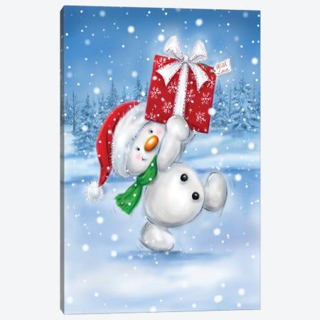 Snowman With Present I Canvas Print #MKK286} by MAKIKO Canvas Artwork