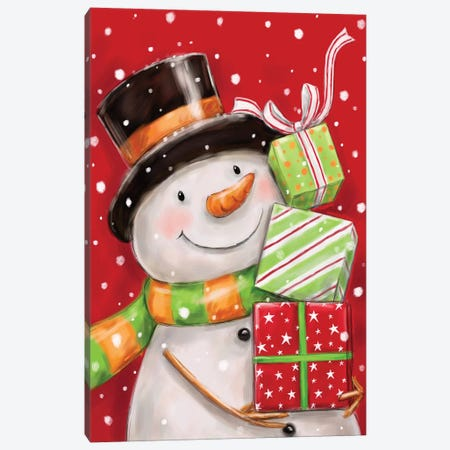Snowman With Presents II Canvas Print #MKK290} by MAKIKO Canvas Wall Art