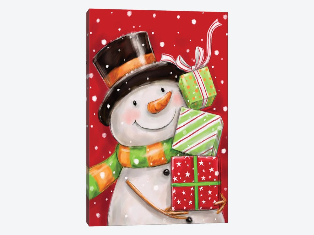 Snowman With Presents II by MAKIKO 1-piece Canvas Print
