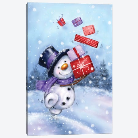 Snowman with Presents IV Canvas Print #MKK291} by MAKIKO Canvas Artwork
