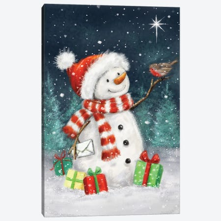Snowman with Presents III B Canvas Print #MKK293} by MAKIKO Canvas Artwork