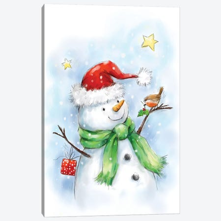 Snowman with Robin III Canvas Print #MKK294} by MAKIKO Art Print