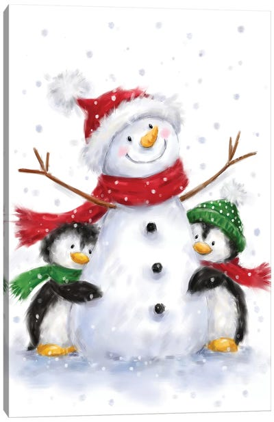 Snowman With Two Penguins Canvas Art Print