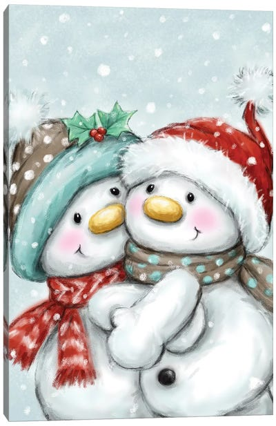 Snowmen Dancing Canvas Art Print
