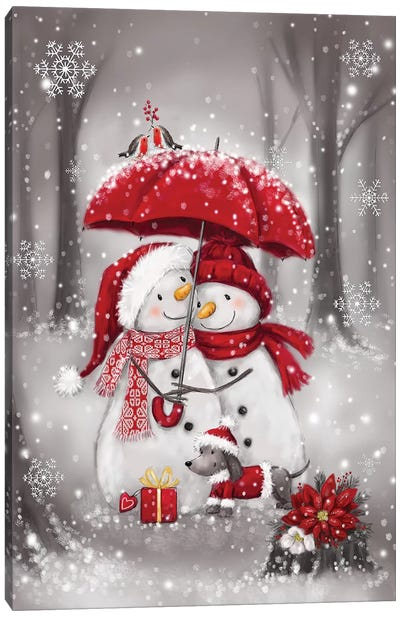 Snowmen With Umbrella  IV Canvas Art Print